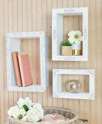 Decorative White Wall Photo Frame Shelves Antique Appeal Carved Wood-Look Trim
