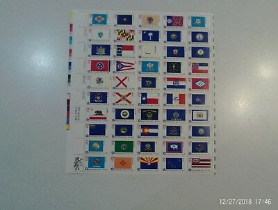 1976 - Fifty States Flags  - Vintage Full Mint Sheet of 50 U.S. Postage Stamps