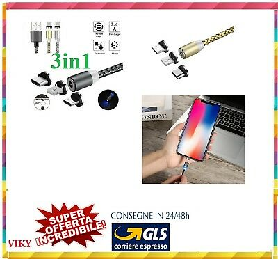 Cavo Magnetico 3 In 1 New 2.4A Con Led Type-C Micro Usb Lightning Per Smartphone