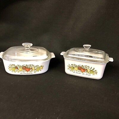VTG Lot of 2 Corning Ware Spice of Life A-2-B Loaf w/Lid & P-4-B Casserole w/Lid