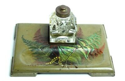 Vintage Hand Painted Inkwell Desk Set - FREE Shipping [P4873]