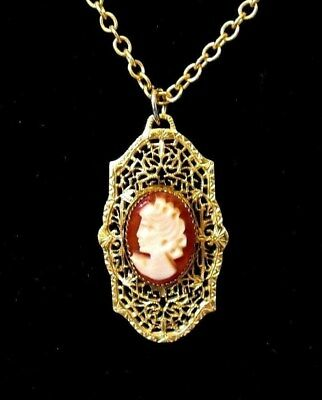 Cameo Pendant Victorian style Filigree CARVED Profile Pendant 12k Gold Filled