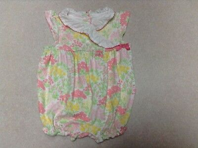 56245b4349b VGUC Janie and Jack Lovely Petals Floral Pink Bubble Romper 1 Pc 0 3