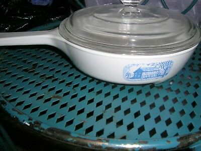 Corning Ware Blue Colonial House Skillet Browning Casserole Dish Baking Serving
