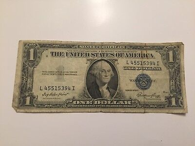 1935 E $1 Dollar Bill Old Us Paper Money Currency Blue Seal Collector Note.