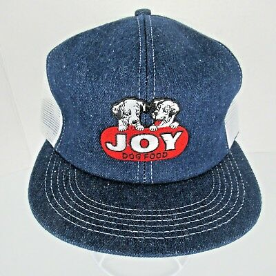 Vtg Joy Dog Food Snapback Trucker Hat Logo Patch Dark Blue Denim White Mesh beb58dde13be