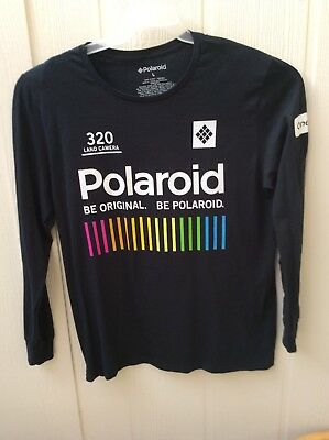 3b9d4777 POLAROID Mens Black Long Sleeve Graphic T Shirt Tee Camera Vintage  Multicolor L