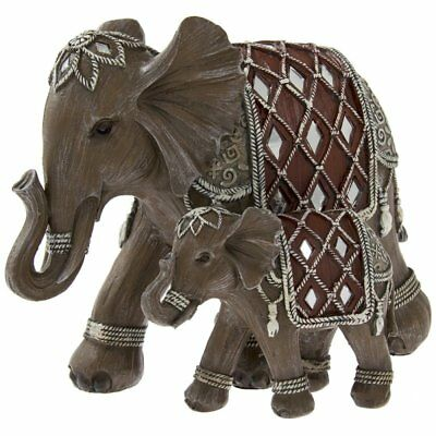 Leonardo Collection LP41158 Brown Wood Effect Elephant & Calf Figurine Ornament