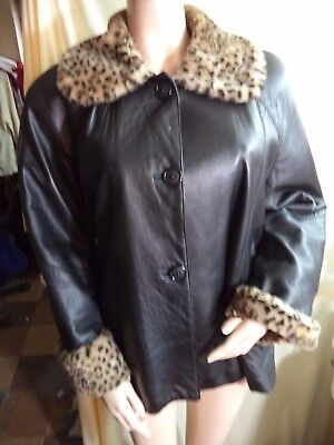 Marvin Richards Black Leather Jacket Acetate Lined Leopard Collar Womans M VGC