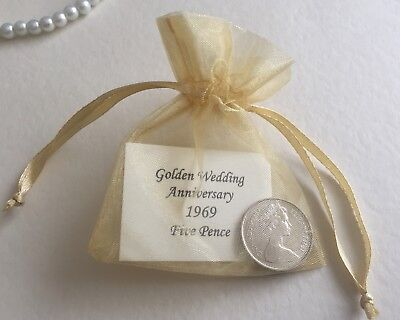 1969 Golden (50th) Wedding Anniversary Thistle 5 Pence/5p Coin - Year Gift, Card