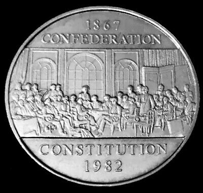 1982 - Canadian 1$ One Dollar Nickel Coin - Confederation Canada, Constitution