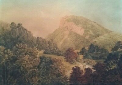 Attr Mary Milner 18th Century Watercolour Painting Heights of Abraham Derbyshire