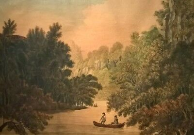 Attr Mary Milner 18th Century Original Watercolour Painting Dovedale Landscape