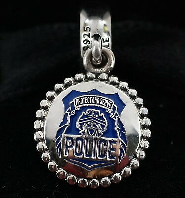 NEW Authentic Pandora Sterling Silver Police Badge Dangle Charm ENG791169_54