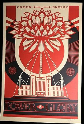 SHEPARD FAIREY Power and Glory LITHO OFFSET SIGNEE OBEY GIANT MINT