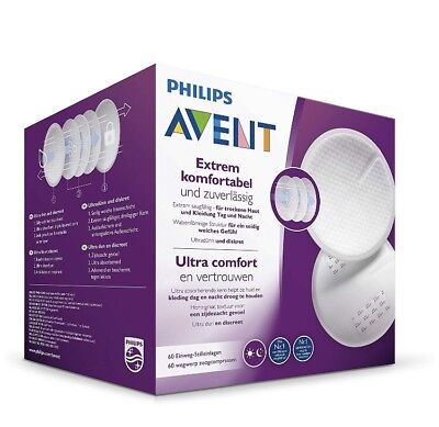 Philips Avent 60 Disposable Breast Pads, Day/ Night, Ultra Comfort - SCF254/61
