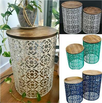 Set of 2 Moroccan Drum Tables Metal & Timber Side/Lamp/Coffee/Bedside/Accent
