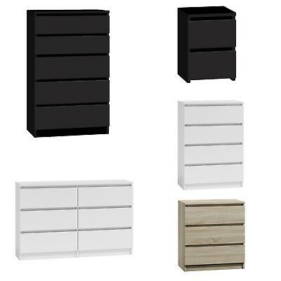 Chest of Drawers White|Black|Oak Bedroom Furniture Tall Wide Storage 3|4|5|6Draw