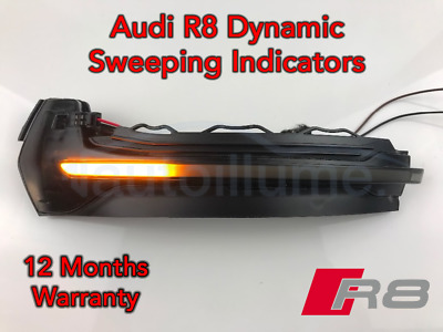 Audi R8 Sweeping Dynamic LED Wing Door Mirror Indicator Light Lamp Smoked V8 V10