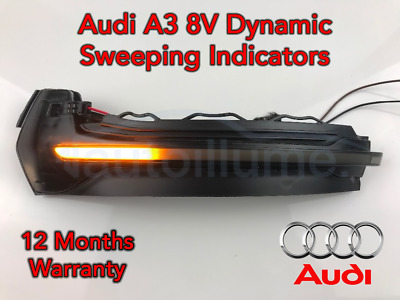 Audi A3 8V RS3 Sweeping Dynamic LED Wing Door Mirror Indicator Light Lamp Smoked