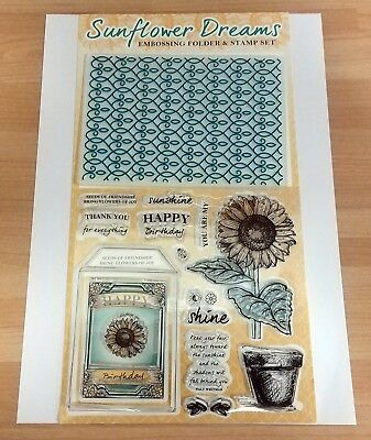 BNIP /& Free P/&P Sunflower Dreams Clear Rubber Stamps and Embossing Folder Set