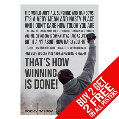 Rocky Motivational Inspirational Quote Boxing Gym Poster -Buy 2 Get Any 2 Free