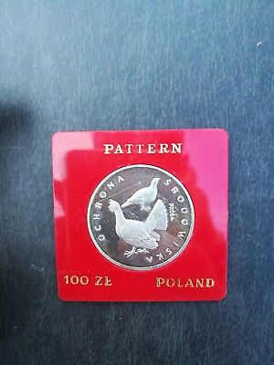 POLAND 100 Zlotych 1980 UNC PROBA, Silver Proof Grouse Capercaillie