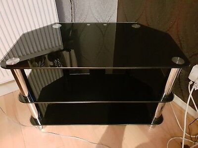"3 Tier Black Tempered Glass TV Stand Fits Up To 42"" Excellent Condition"