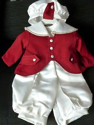 Baby Boys Christening Outfit by Lynnat 0-6 Months cream and red new
