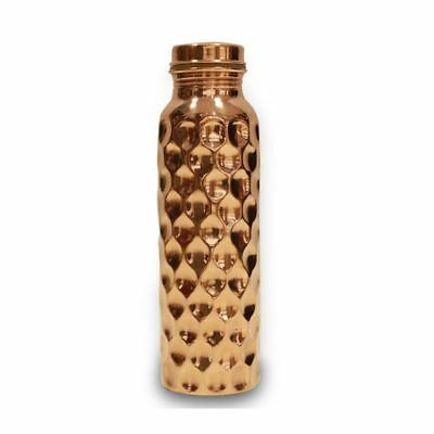 Traditional Pure Copper Ayurveda Broad Diamond shaped Hammered Bottle 1000ml