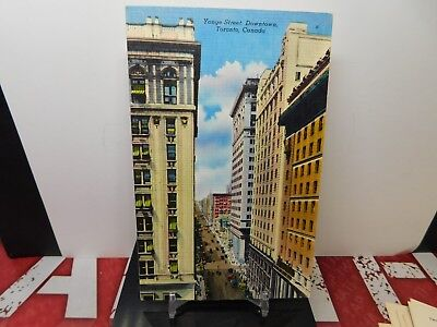 YONGE STREET TORONTO CANADA unused VINTAGE PC POSTCARD linen  NR-MINT more list