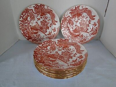 Royal Crown Derby Red Aves Dinner Plates Set Of 10