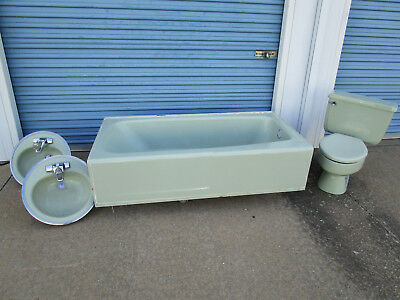Vintage green american standard bathroom set toilet sink bathtub mid century