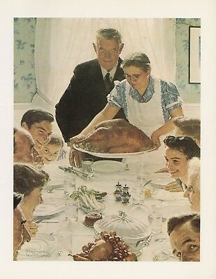 "1977 VINTAGE ""FREEDOM FROM WANT"" by NORMAN ROCKWELL MINI POSTER COLOR Lithograph"