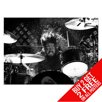 Dave Grohl On Drums Foo Fighters Nirvana Poster A4 A3 -Buy 2 Get Any 2 Free