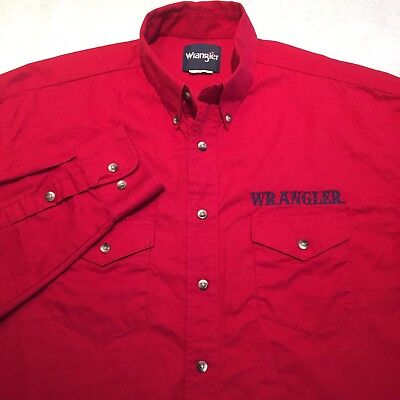 Wrangler Vintage Mens Medium Red Embroidered Spell Out Western Cowboy Shirt EUC