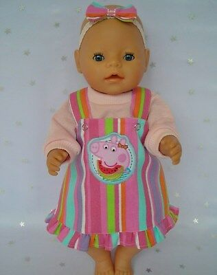 "Dolls clothes for 17"" Baby Born/16"" Cabbage Patch doll~PEPPA PIG~STRIPE PINAFORE"