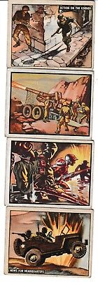 1950 Topps Freedom's War Cards Lot Of 4 - #14 #65 #135 #143 Battleground Korea