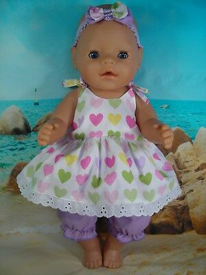 Dolls clothes for 17'' Baby Born doll~PASTEL HEART STRAP DRESS~LILAC BLOOMERS