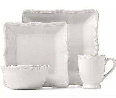 French Perle Bead White Square 16-piece Place Setting by Lenox