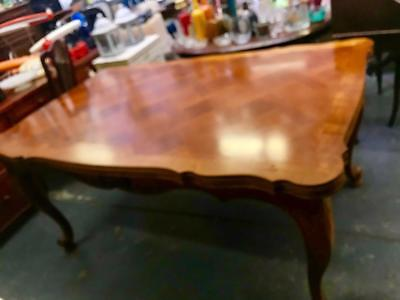 Antique French Solid Oak & Fruitwood Parquetry Draw Leaf Extension Dining Table