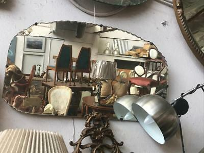 Lovely Art Deco  Rectangular Mirror With Part Scalloped Edge 71 X 40 Cm