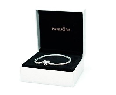NEW Authentic PANDORA 925 Sterling Silver Heart Clasp Charm Bracelet #590719