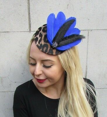 Royal Blue Black Leopard Animal Print Feather Pillbox Hat Fascinator Races 6904