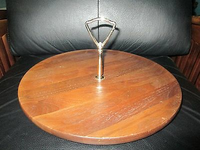 """Large 12"""" Vintage Mid Century Modern Solid Walnut Wood Canape Serving Tray Plate"""