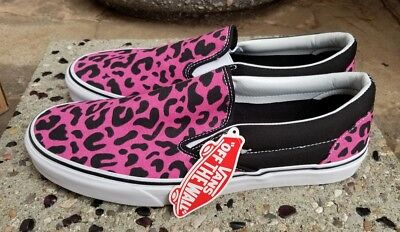 19c73c098d Vans Classic Slip-On Leopard Pink Black Skate Shoes Men s Size 12 New