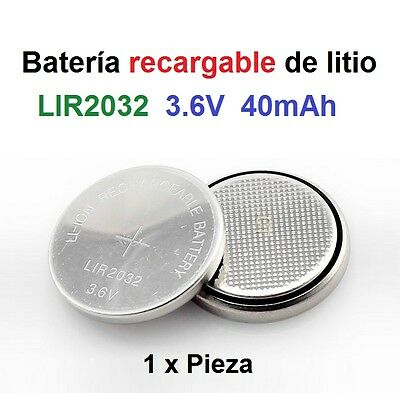 Batería recargable Pila de Litio LIR2032 3.6V 40mAh Lithium Cell Button Battery