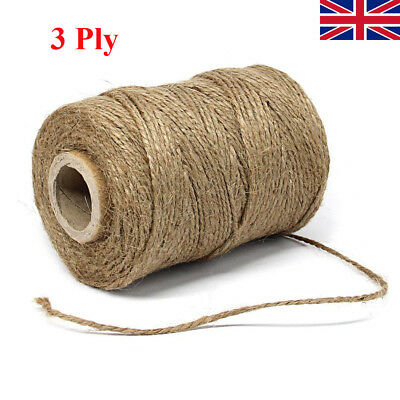 100M3Ply Soft Natural Brown Jute Hessian Burlap Rustic Twine Sisal String Cord D