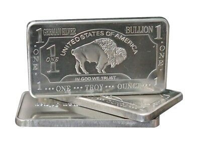 1 oz One Troy Ounce USA American Buffalo .999 Fine German Silver Bullion Bar