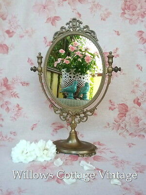 Vintage~French~Chic~Provincial~Solid~Brass~Scrolly~Ornate~Swivel~Table~Mirror